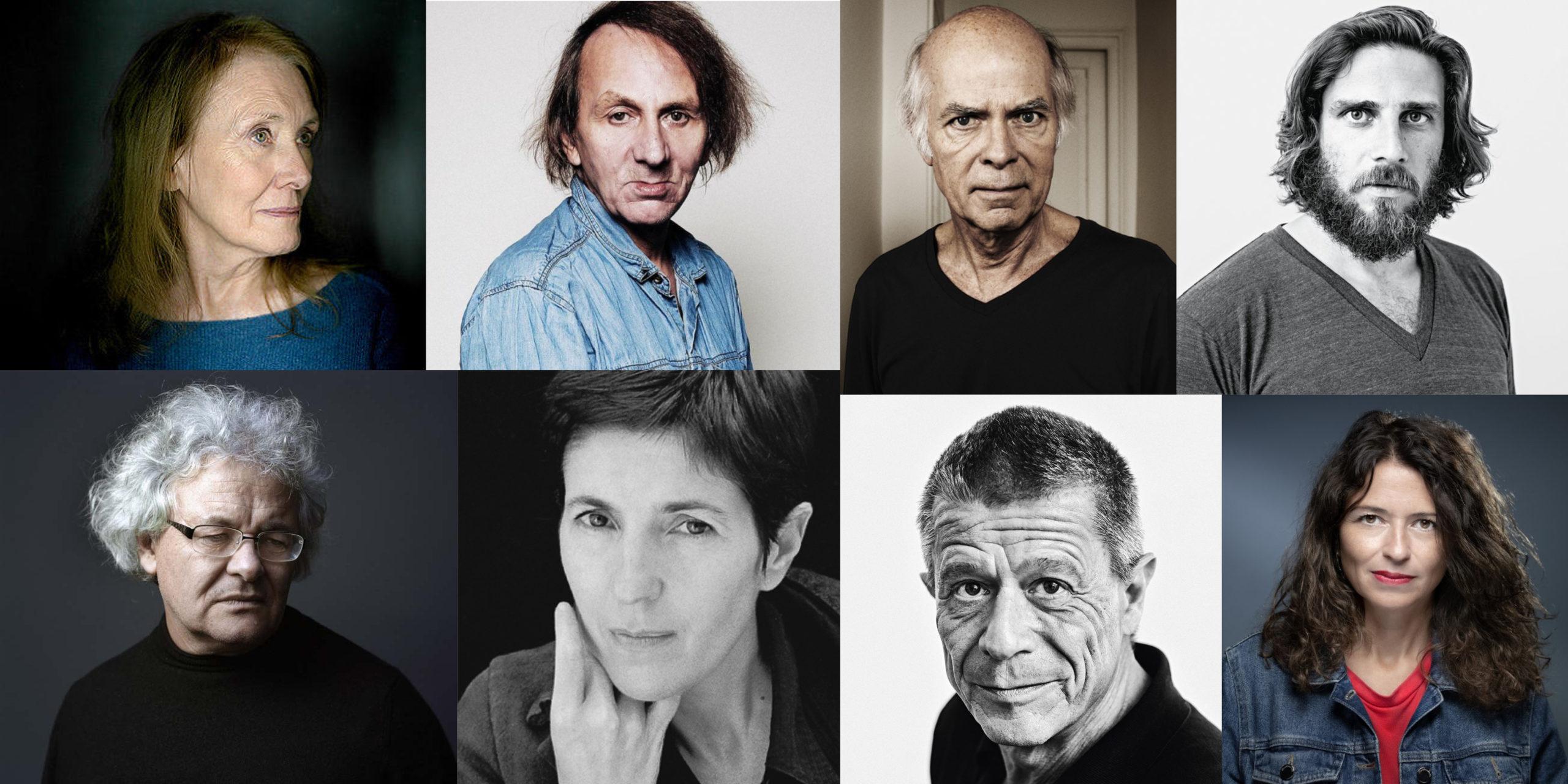 Portraits des écrivains Annie Ernaux, Michel Houellebecq, Aurélien Bellanger, François Bon, Pascal Quignard, Christine Angot, Emmanuel Carrère, Karine Tuil.