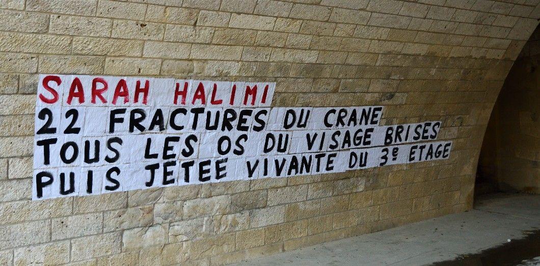Message vu sur un mur parisien et réclamant justice pour Sarah Halimi.