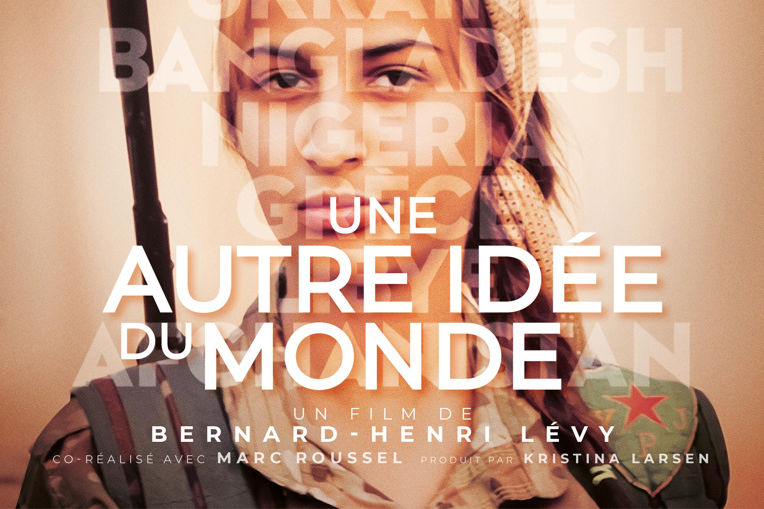 """Détail de l'affiche du film """"Une autre idée du monde"""" de Bernard-Henri Lévy, co-réalisé avec Marc Roussel."""