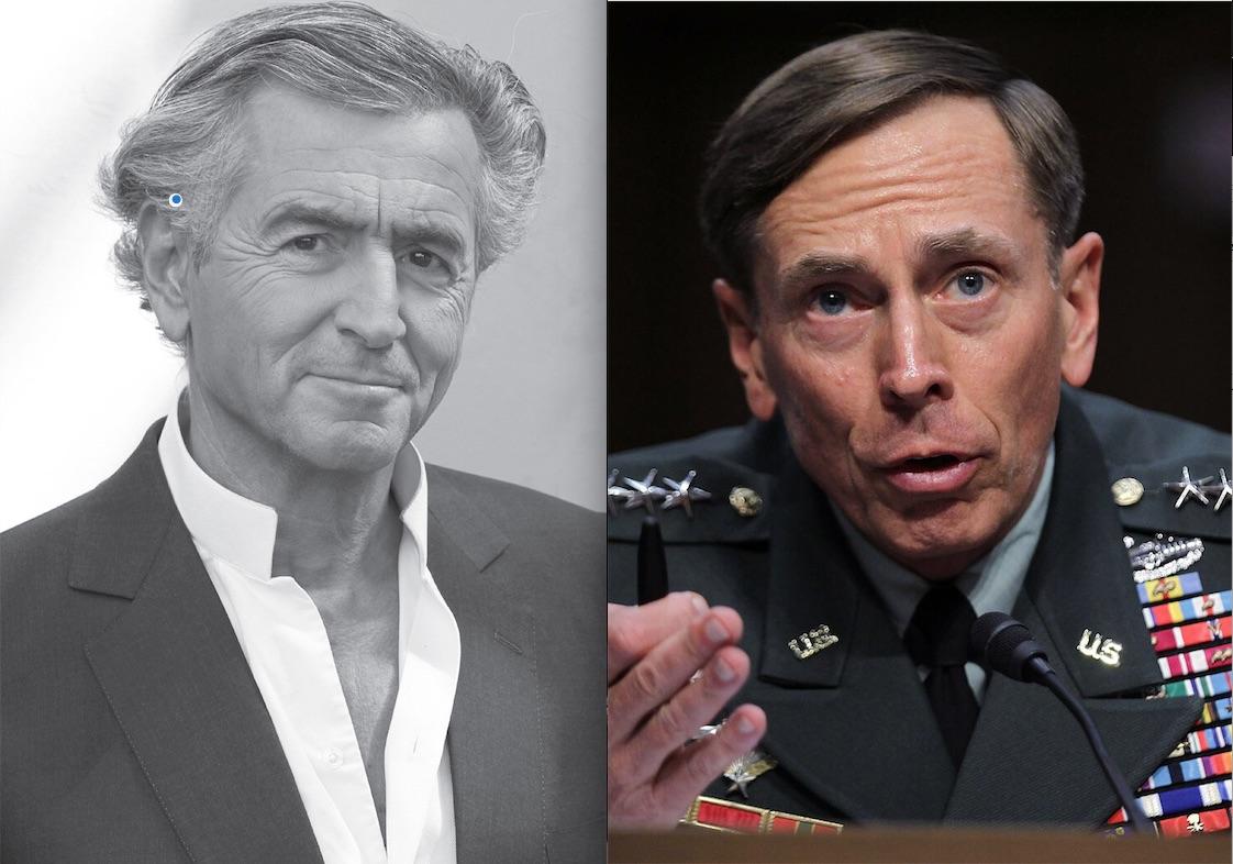 Bernard-Henri Lévy, auteur du «Rapport sur la reconstruction de l'Afghanistan», et général David Petraeus, le préfacier de la réédition américaine du livre.