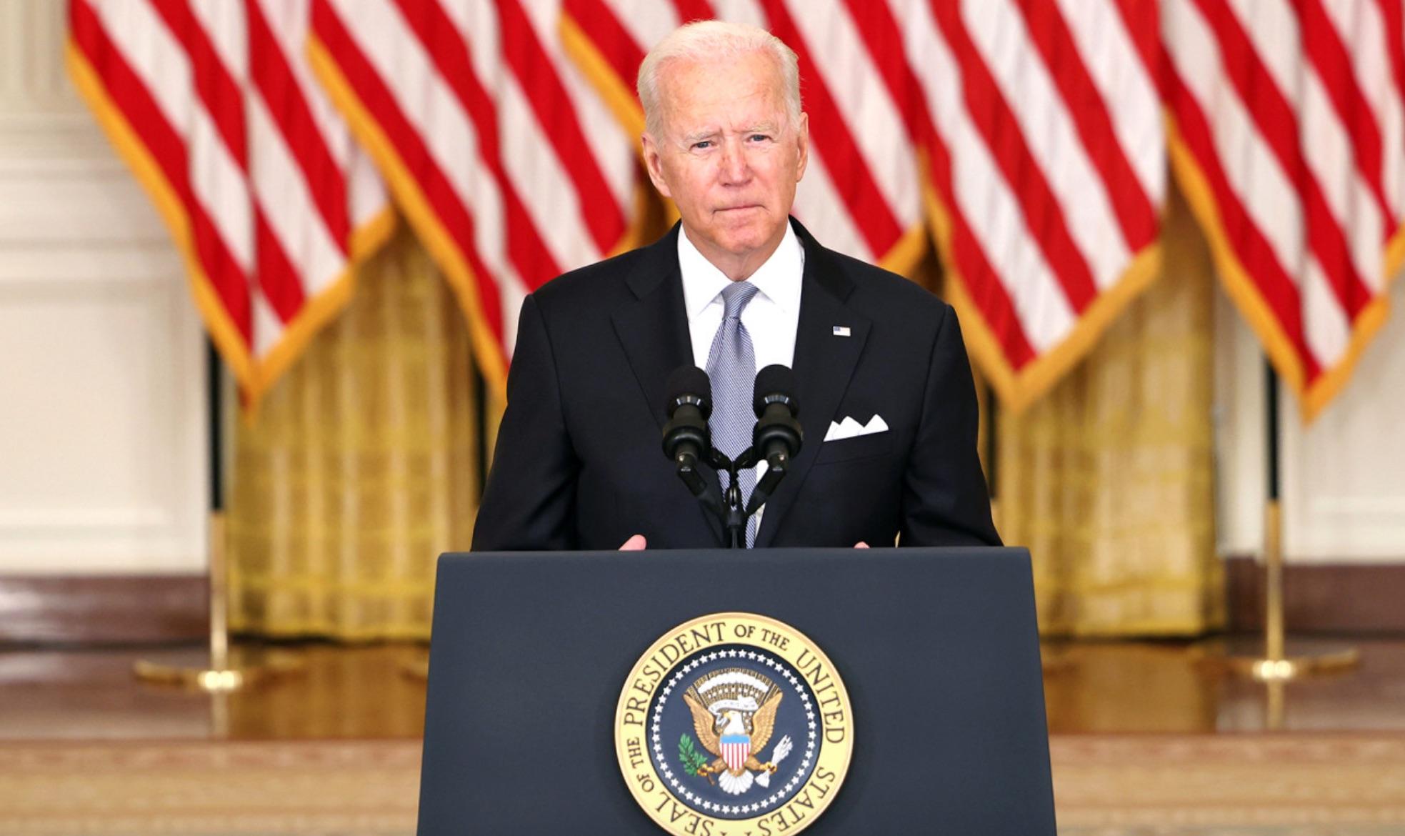 Le président Joe Biden lors de son allocution à propos du retrait des États-Unis de l'Afghanistan, le 1§ août 2021.