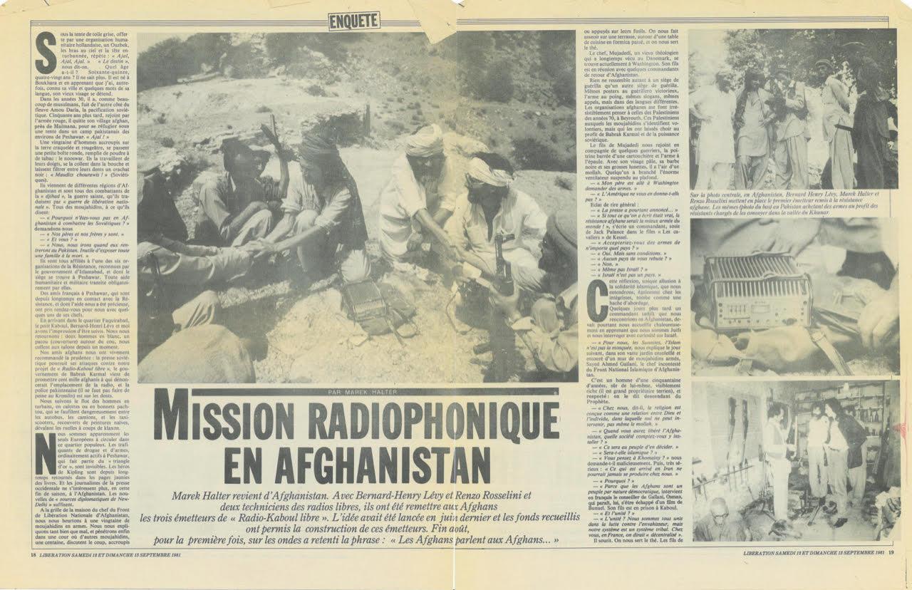 Article de Marek Halter paru dans Libération et racontant la création de Radio Kaboul.