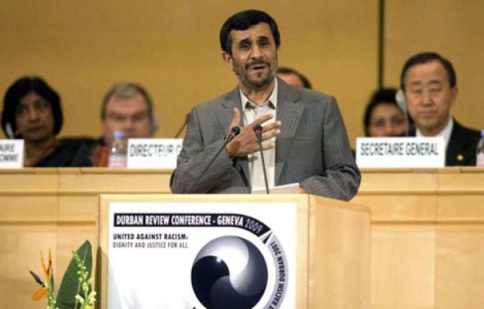 Mahmoud Ahmadinejad, le 20 avril 2009, lors de sa participation à la conférence de Durban II