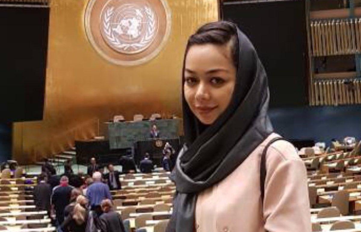 Amina Zia Massoud aux Nations Unies en 2017.