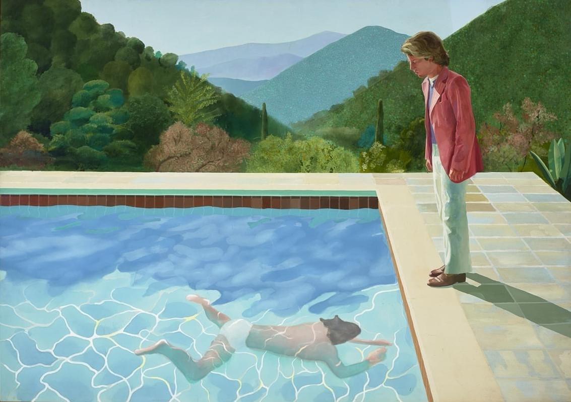 Une piscine avec deux personnages représentés dans une peinture colorée de David Hockney