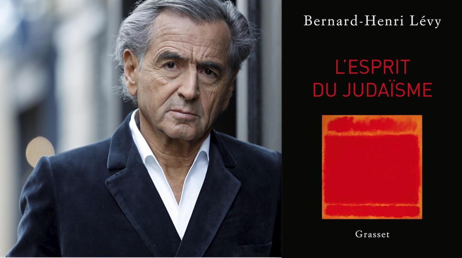 """Portrait de Bernard-Henri Lévy à côté de la couverture de son livre """"L'esprit du judaïsme""""."""