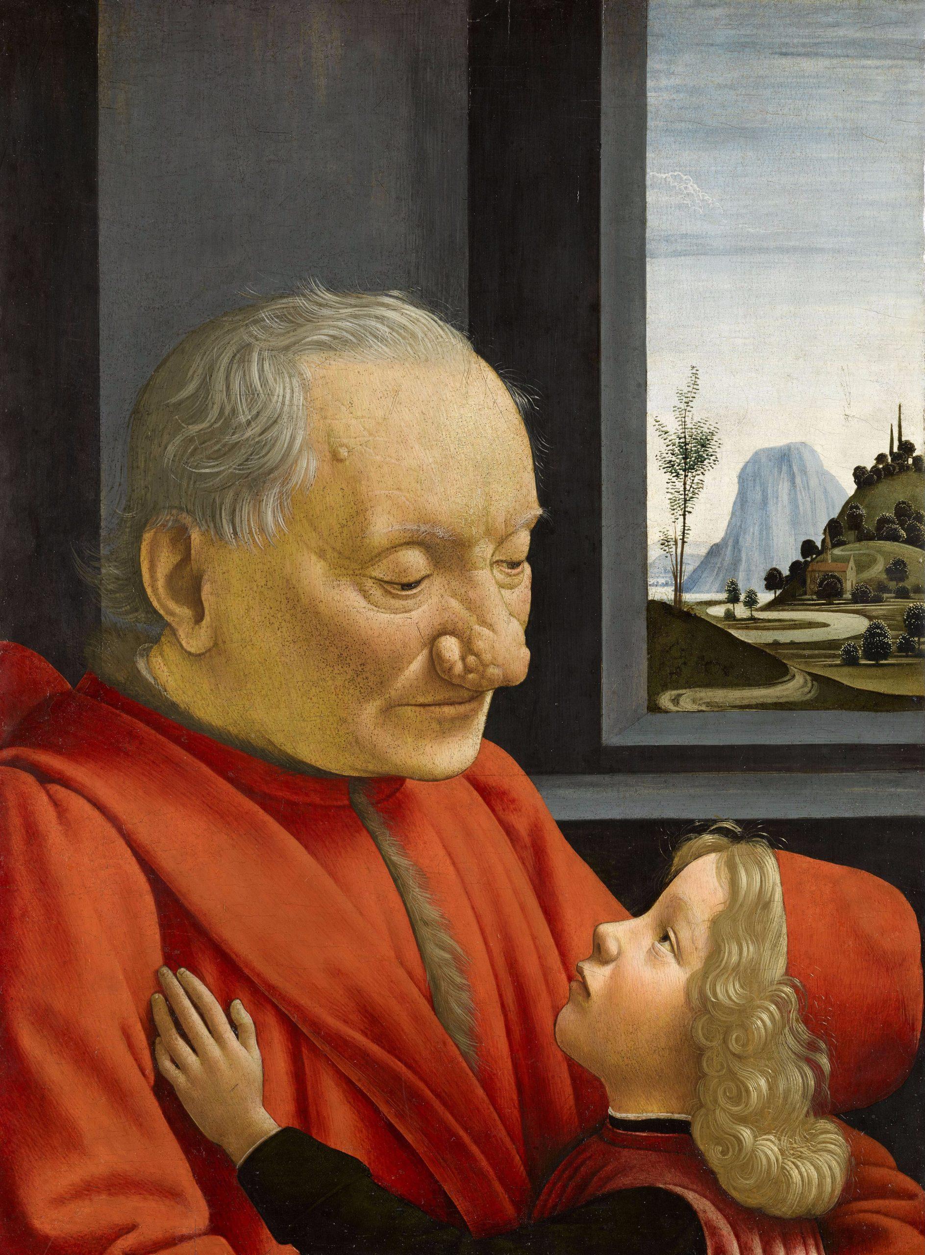 Le fameux tableau de Domenico di Tommaso Bigordi dit Ghirlandaio, représentant le portrait d'un vieillard et d'un jeune garçon, peint en 1490. Il s'agit d'une peinture à l'huile, de 62x46 cm, exposée au Musée du Louvre à Paris.