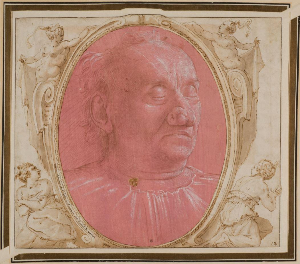 Portrait d'un vieil homme au papier rose par Francesco Sacchetti.