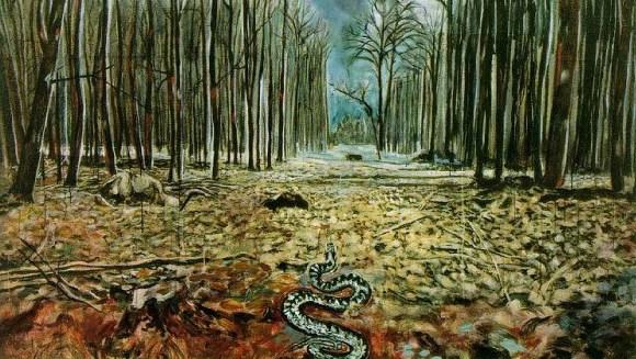"""Détail du tableau """"Resurrexit"""" d'Anselm Kiefer, 1973."""